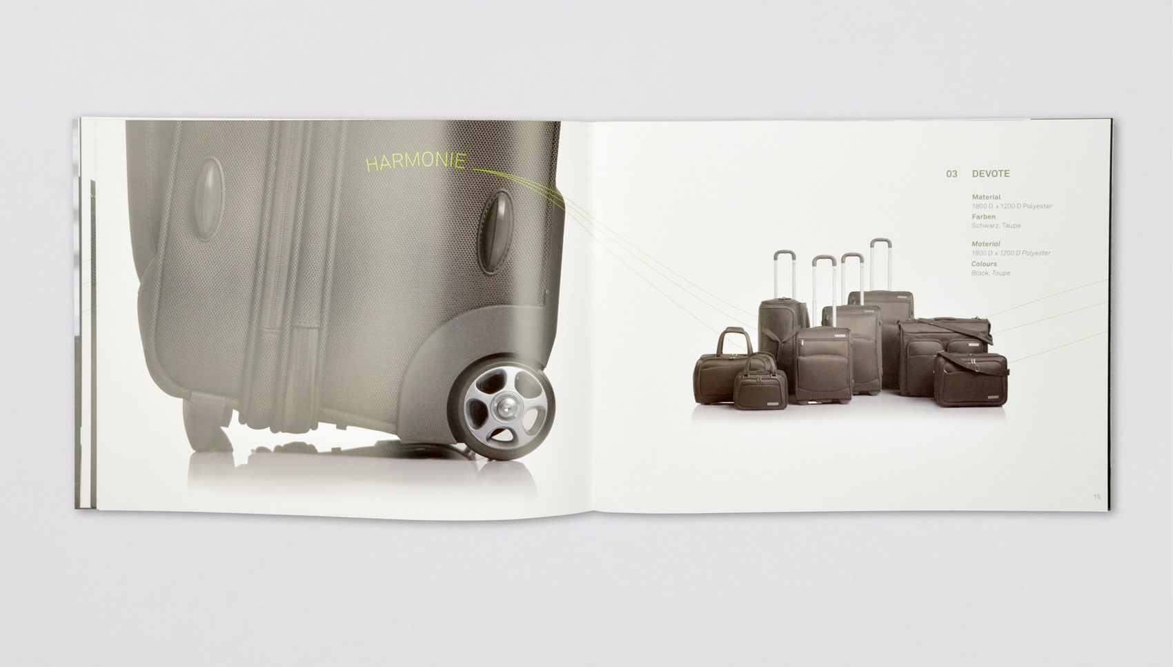 Cocoono visueller Auftritt einer Reisegepäckmarke